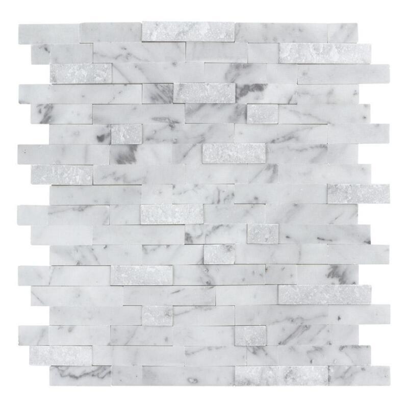 Peel and Stick Classic Linear Grey White Stone Mosaic Tile Backsplash MTO0213