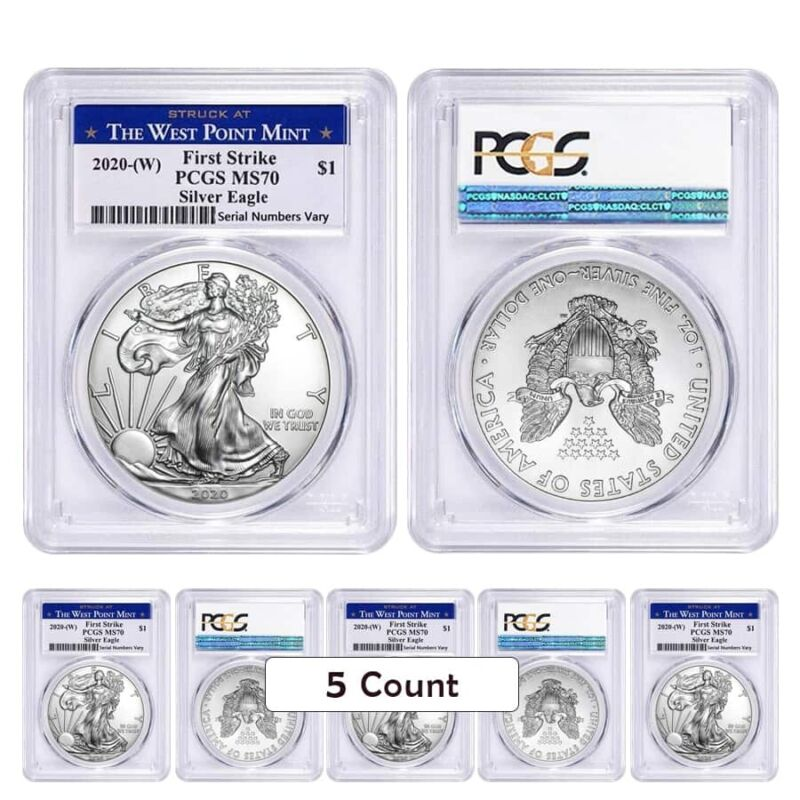 Lot of 5 - 2020 (W) 1 oz Silver American Eagle $1 Coin PCGS MS 70 FS West Point