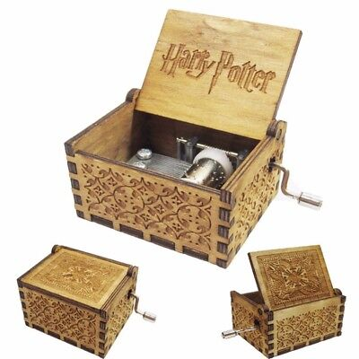 Christmas Gift Harry Potter Engraved Wooden Hand Crank Music Box Boys Girls Toy