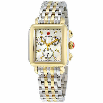 New Michele Deco White MOP Diamond Dial Two-Tone Steel Ladies Watch (Ladies Two Tone White Dial)