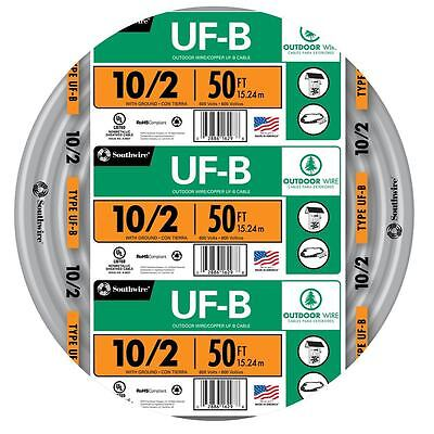 50 Roll 10-2 Awg Uf-b Gauge Outdoor Burial Electrical Feeder Copper-wire Cable