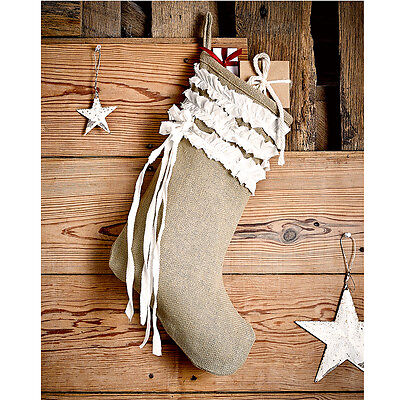BURLAP NATURAL & CREME VOILE RUFFLED CHRISTMAS STOCKING 11X15""