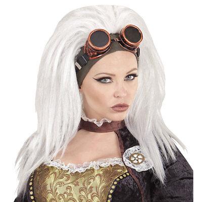 STEAMPUNK PERÜCKE MIT BRILLE # weiß Retrolook Gothic Kostüm Zubehör Party 02096