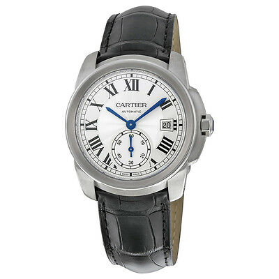 Cartier Calibre de Cartier Silver Dial Black Leather Mens Watch WSCA0003