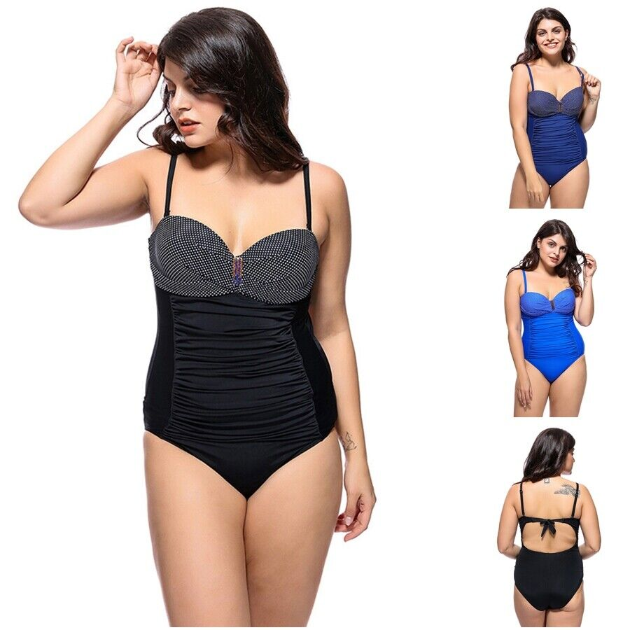 Retro Punkt Damen übergröße Bikini Tunika Tankini Bauchweg Badeanzug Bademode