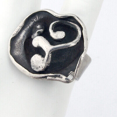 Clausen Iceland Brutalist Abstract Ring Sterling Silver Denmark