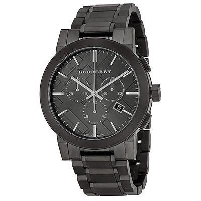 New Burberry Chronograph BU9354 Men's Dark Nickel Stainless Steel Watch
