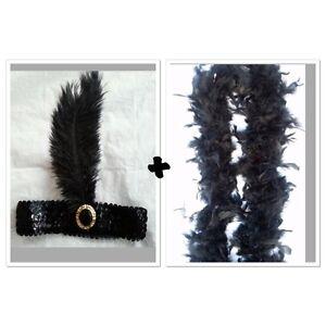 1920s Charleston Flapper Fancy Set Black Sequin Headband And Feather Boa