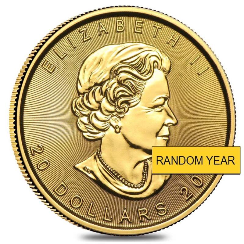 1/2 Oz Canadian Gold Maple Leaf $20 Coin (random Year)