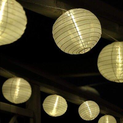 Lampion Lichterkette mit 25 großen LED Lampions Ø 15cm weiß für garten außen