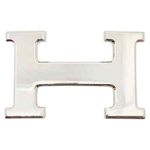 HERMES 32mm Constance Shiny Glossy Silver Palladium H Smooth Metal Belt Buckle