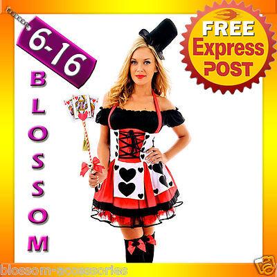F75 Red Queen of Hearts Alice In Wonderland Fancy Dress Halloween Costume & Hat