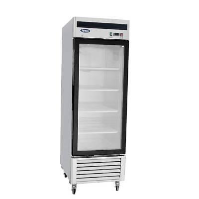 New 1 One Door Glass Freezer Led Lighting 21cu 4 Shelves Casters Energy Star