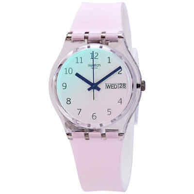 Swatch Ultrarose Quartz White Dial White Silicone Ladies Watch GE714