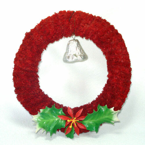 1950s Red Brush Hinoki Christmas Wreath Bell Holly