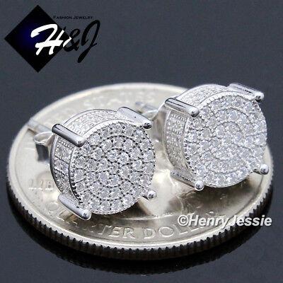 MEN 925 STERLING SILVER 8MM LAB DIAMOND ICED ROUND PUSH BACK STUD EARRING*E142