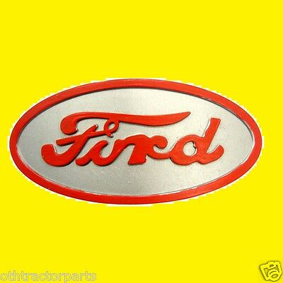 Ford Tractor 8n16600a Emblem Front Hood Grille Red Letters Gray Backround 8n
