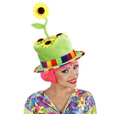 SONNENBLUMEN HUT 70er Jahre Flower Power Hippie Clown Blumen Kostüm Party 2636 - Clown Hut