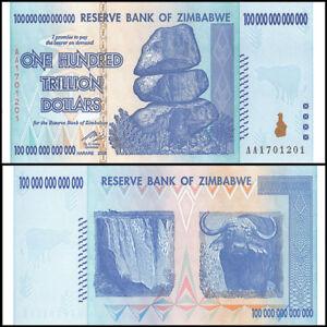 Zimbabwe 100 Trillion Dollars Aa 2008 P 91 Unc