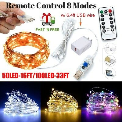 8Modes USB Powered Copper Wire LED String Fairy Light for Christmas Party Decor](Light For Party)