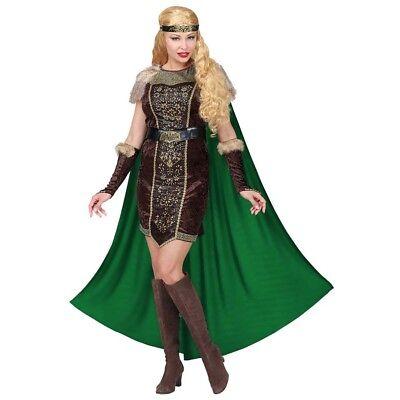 DELUXE DAMEN WIKINGER KOSTÜM SET Karneval Wikingerin Vikinger Kleid Umhang 0801 ()
