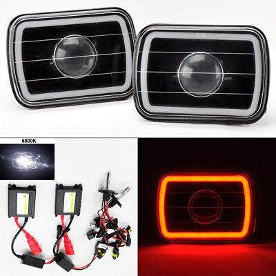 "7X6"" 6K HID Xenon H4 Black Projector Glass CCFL Red Halo Headlight Pair Jeep"