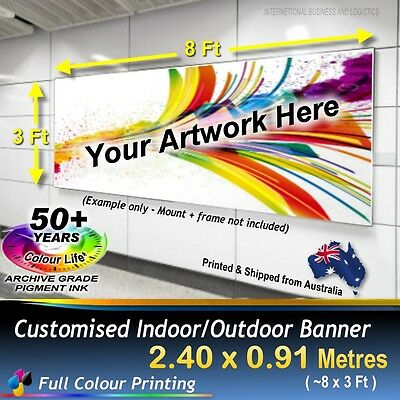 2.4m X 0.9m CUSTOM BANNER Store Sign Flag Indoor and Outdoor Banner