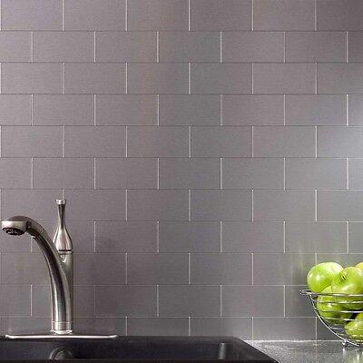 Peel and Stick Tile Kitchen Backsplash Metal Wall Tiles, Silver Subway, 32Pack Metro Wall Tiles