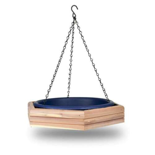 Pennington Blue Cedar Platform Bird Feeder For Hanging Bird Bath Tray Outdoors