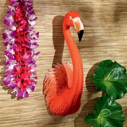 "20"" Pink Flamingo Wall Sculpture Tiki Bar South Sea Tropical Home Garden Decor"