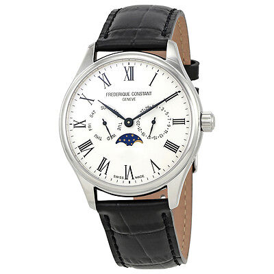 Frederique Constant Classics Mens Leather Moonphase Watch FC-260WR5B6