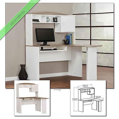 Corner Computer Desk With Hutch L Shaped Home Office Wood Desks White Oak