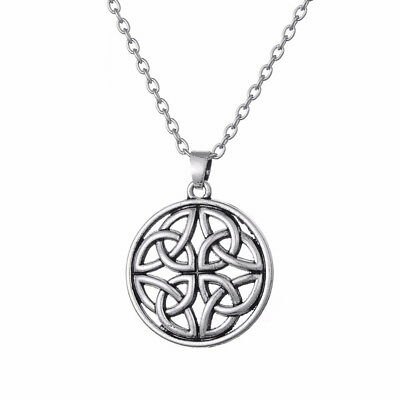 Celtic Pentagon Knot Pendant Chain Necklace Amulet Charm Silver Plated Jewelry Celtic Silver Plated Necklace