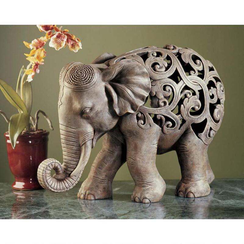 Elephant Ornamental India Fretwork Geometric Floral Jali Art Statue