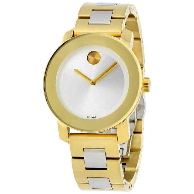 Movado-Bold-Silver-Dial-Yellow-Gold-PVD-Ladies-Watch-3600129