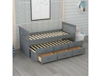 CAPTAIN BED, WHITE, GREY, SOLID, UNDER BED, SINGLE BED, 3 DRAWERS, STORAGE, WOODEN BED. MATTRESS,