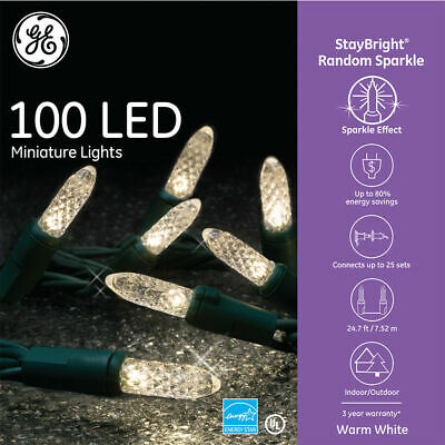 GE StayBright 100-Count 24.75-ft Sparkling Warm White LED Christmas String Light