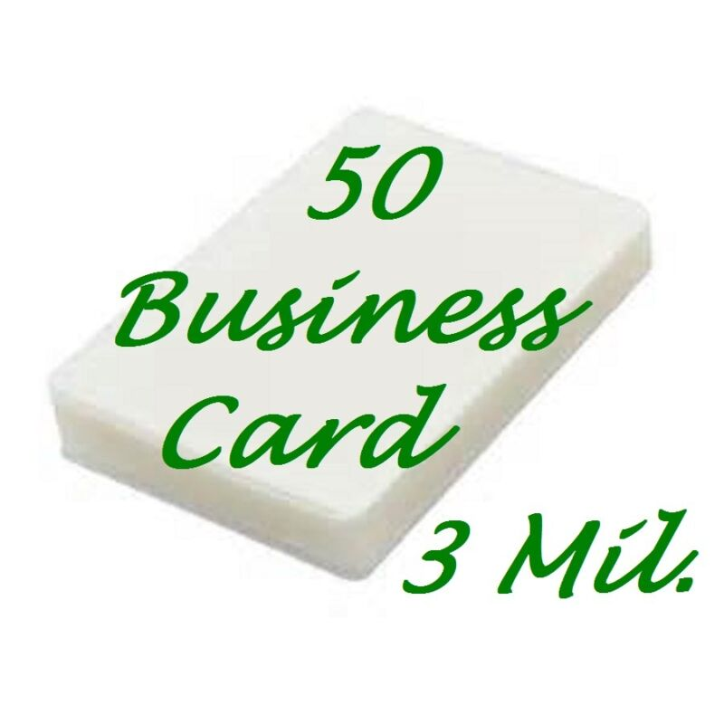 50 Business Card 3 Mil Laminating Pouches Laminator Sheets 2-1/4 x 3-3/4