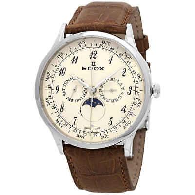 Edox Les Vauberts Multi-Function Quartz Beige Dial Men's Watch 40101 3C BEBN