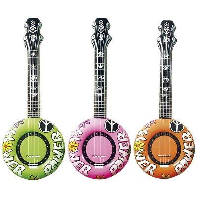 AUFBLASBARES HIPPIE BANJO 70er Jahre Flower Power Gitarre Kostüm Party Deko 2395