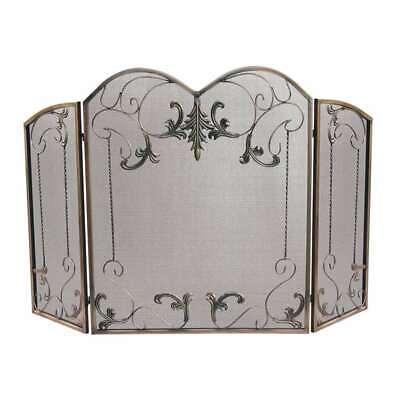 - Uniflame 3 Fold Venetian Bronze Screen With Leaf Scrolls - S-1645