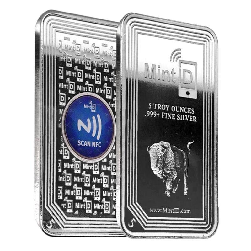 5 oz MintID Buffalo Silver Bar .999+ Fine (NFC Scan Authentication)