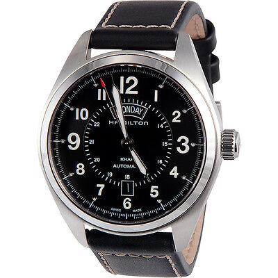 Hamilton Khaki Field Blacl Dial Black Leather Mens Watch H70505733