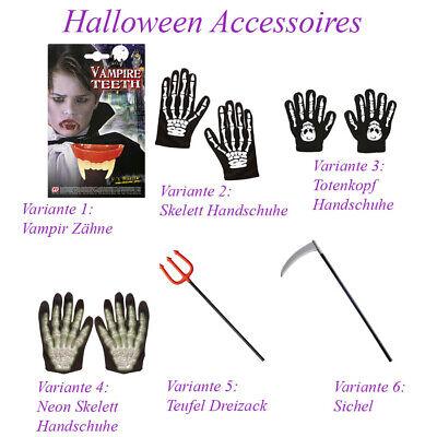 eufel Dreizack Sichel Skelett Handschuhe Vampir Zähne KP13 (Halloween zubehör)