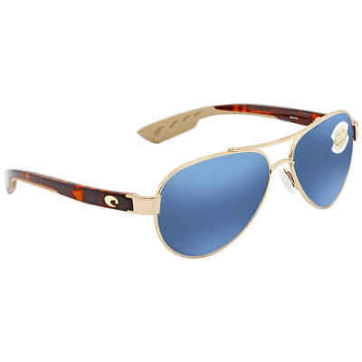 Costa Del Mar Loreto Blue Mirror 580P Aviator Sunglasses LR 64 (Blue Mirrored Aviator Sunglasses)