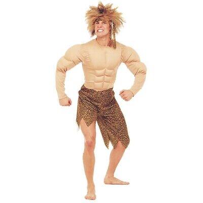 HERREN DSCHUNGELMANN KOSTÜM Karneval Höhlenmensch Dschungel Urwald Muskel Kostüm