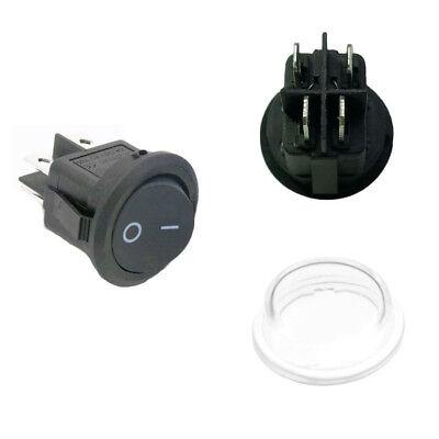5 X 4pin Onoff Black Round Mini Rocker Switch 20mm Waterproof Cover Spst 250v