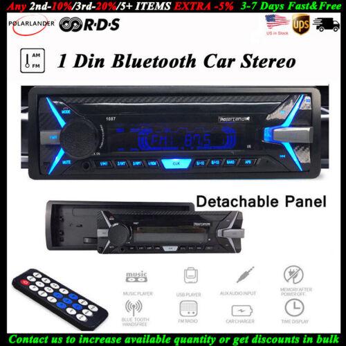 Car Radio 1 Din AM FM Car MP3 Player Detachable Panel RDS BT
