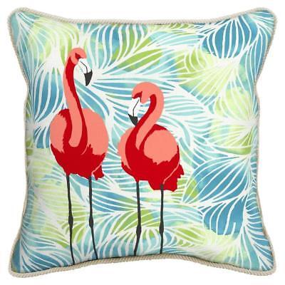 Flamingo Friends Print Square Toss Throw Pillow w Jute Trim 16