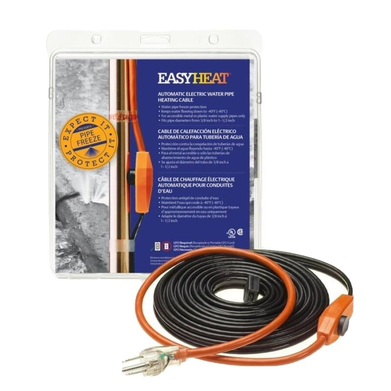 Easy Heat 24' Electric Heated Cable Heat Tape - Pipe Freeze Protection AHB124